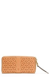 Frye Large Ilana Perforated Leather Zip Wallet Brown Light Tan