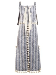 Altuzarra Villette Tassel Trimmed Diamond Jacquard Dress Blue Print