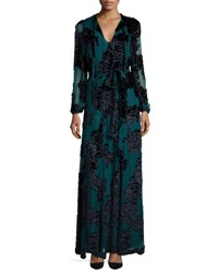 Co Tie Neck Long Sleeve Velvet Gown Teal
