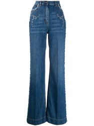 Etro Wide Leg Flared Jeans Blue