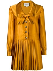 Gucci Pleated Long Sleeve Dress Yellow Orange