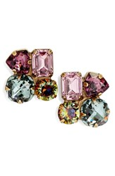 Sorrelli Crystal Cluster Stud Earrings Purple Multi