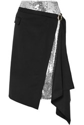 Monse Asymmetric Sequined Crepe And Wool Blend Twill Midi Skirt Black