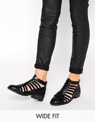 New Look Wide Fit Lattice Gladiator Flat Shoes Black