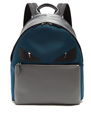 Fendi Bag Bugs Leather Trimmed Canvas Backpack Blue Multi