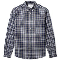 Portuguese Flannel Button Down Street Check Shirt Grey