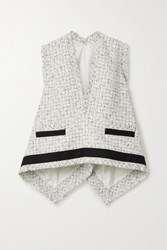 Sacai Draped Cotton Trimmed Frayed Tweed Top White
