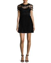 Red Valentino Peter Pan Collar Lace Dress Black