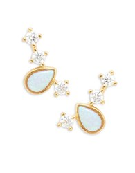 Tai Stone Accented Stud Earrings Opal