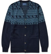 Blue Blue Japan Cotton And Linen Blend Jacquard Cardigan Navy