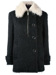 Alexander Wang Shearling Collar Coat Black