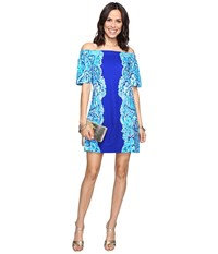 Lilly Pulitzer Tiana Dress Brilliant Blue Moon Jellies Engineered Women's Dress