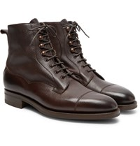Edward Green Galway Cap Toe Textured Leather Boots Dark Brown
