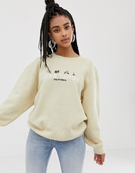 Daisy Street Relaxed Sweatshirt With Lake Taho Embroidery Beige