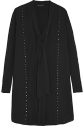 Belstaff Wingham Studded Silk Georgette Mini Dress Black