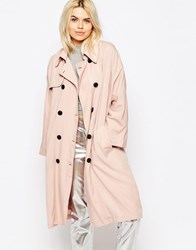 The Whitepepper Button Front Trench Coat Pink