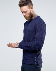 Asos Cable Knit Jumper With Button Side Seam Navy Beige
