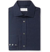 Kingsman Turnbull And Asser Navy Striped Cotton And Cashmere Blend Shirt Blue
