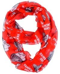 Forever Collectibles Chicago Blackhawks All Over Logo Infinity Wrap Scarf Black Yellow