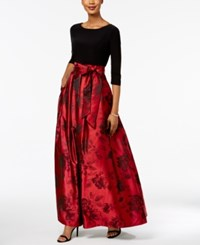 Jessica Howard Floral Print Ball Gown Red Black