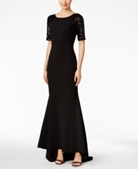 Calvin Klein Lace Sleeve V Back Gown Black