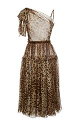 Dolce And Gabbana Leopard Chiffon One Shoulder Dress Print