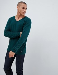 Tom Tailor Knitted Jumper In Wool Blend With Raw Edge Neck Green