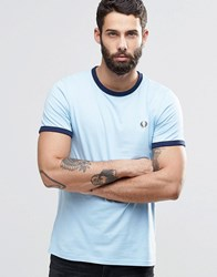 Fred Perry Ringer T Shirt In Blue Sky Blue