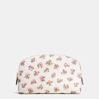Coach Cosmetic Case 22 In Flower Patch Print Coated Canvas Light Gold Flower Patch