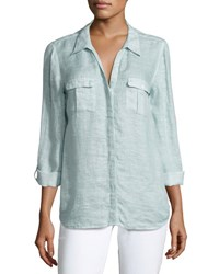 Joie Booker Linen Safari Shirt Blue