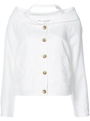 Robert Rodriguez Cut Detail Blazer Women Cotton Linen Flax 6 White