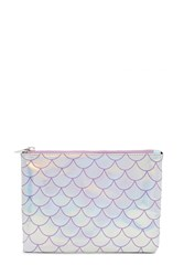 Forever 21 Holographic Mermaid Scale Clutch Silver Lavender