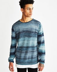 Nudie Jeans Dale Printed Yarn Jumper Blue