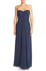 Women's Dessy Collection Sweetheart Neck Strapless Chiffon Gown Midnight