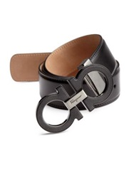 Salvatore Ferragamo Stone Gancini Leather Belt Black