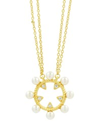 Freida Rothman Textured Open Cubic Zirconia Pendant Necklace