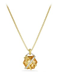 Cable Wrap Pendant With Champagne Citrine And Diamonds In Gold On Chain David Yurman