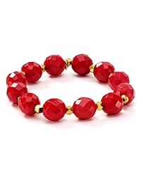 Bourbon And Boweties Faceted Stretch Bracelet Red