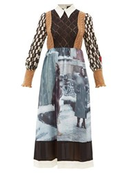Undercover Knit Bodice Graphic Print Wool And Silk Dress Black Multi