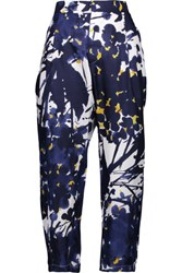 Marni Cropped Printed Silk Straight Leg Pants Navy