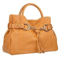 Buti Camel Horsebit Detail Italian Pebble Leather Satchel Bag