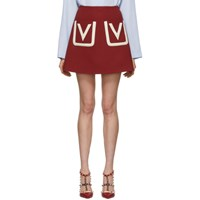 Valentino Red Double Pocket A Line Miniskirt