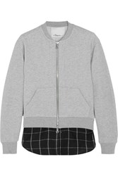 3.1 Phillip Lim Layered Cotton Jersey And Flannel Bomber Jacket Light Gray