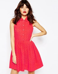 Asos Mini Broiderie Shirt Dress Coral Red