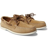 Quoddy Downeast Suede Boat Shoes Beige
