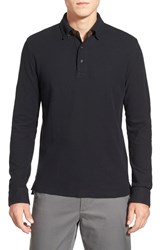 Men's Brooks Brothers Long Sleeve Oxford Knit Polo With Suede Trim