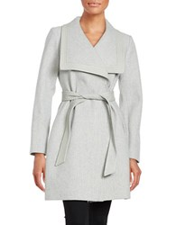 Jessica Simpson Faux Leather Trimmed Belted Coat Grey