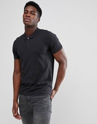 Selected Homme Polo With Concealed Placket Black
