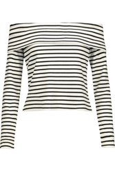 Derek Lam 10 Crosby By Off The Shoulder Striped Stretch Jersey Top White