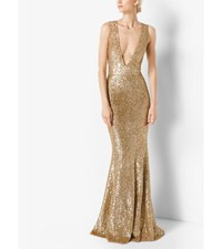 Sequined Deep V Neck Gown Gold